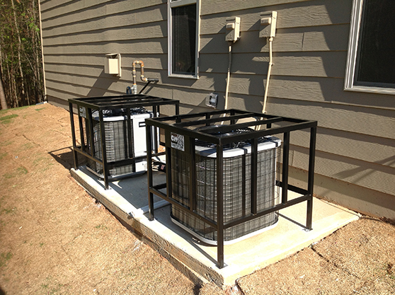 Residential hvac security cages for ac units cageitup for Air conditioner slab